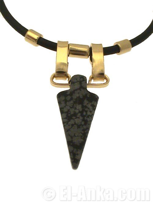 collier homme obsidienne